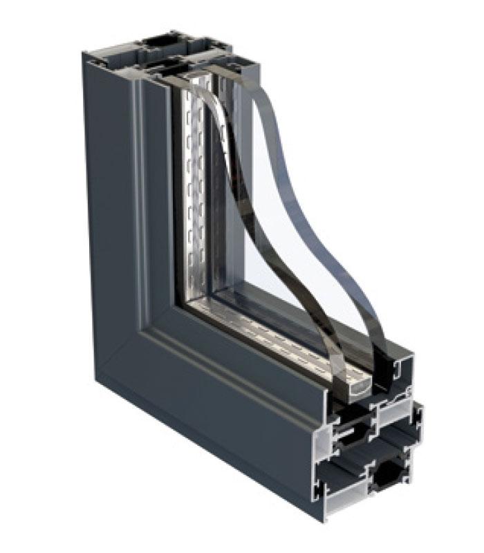 aluminium window frame cross-section