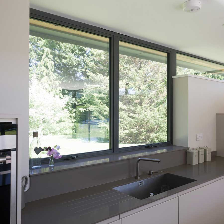 aluminium windows from inside kitchen