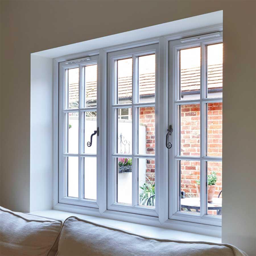 UPVC casement windows with georgian bars from the inside