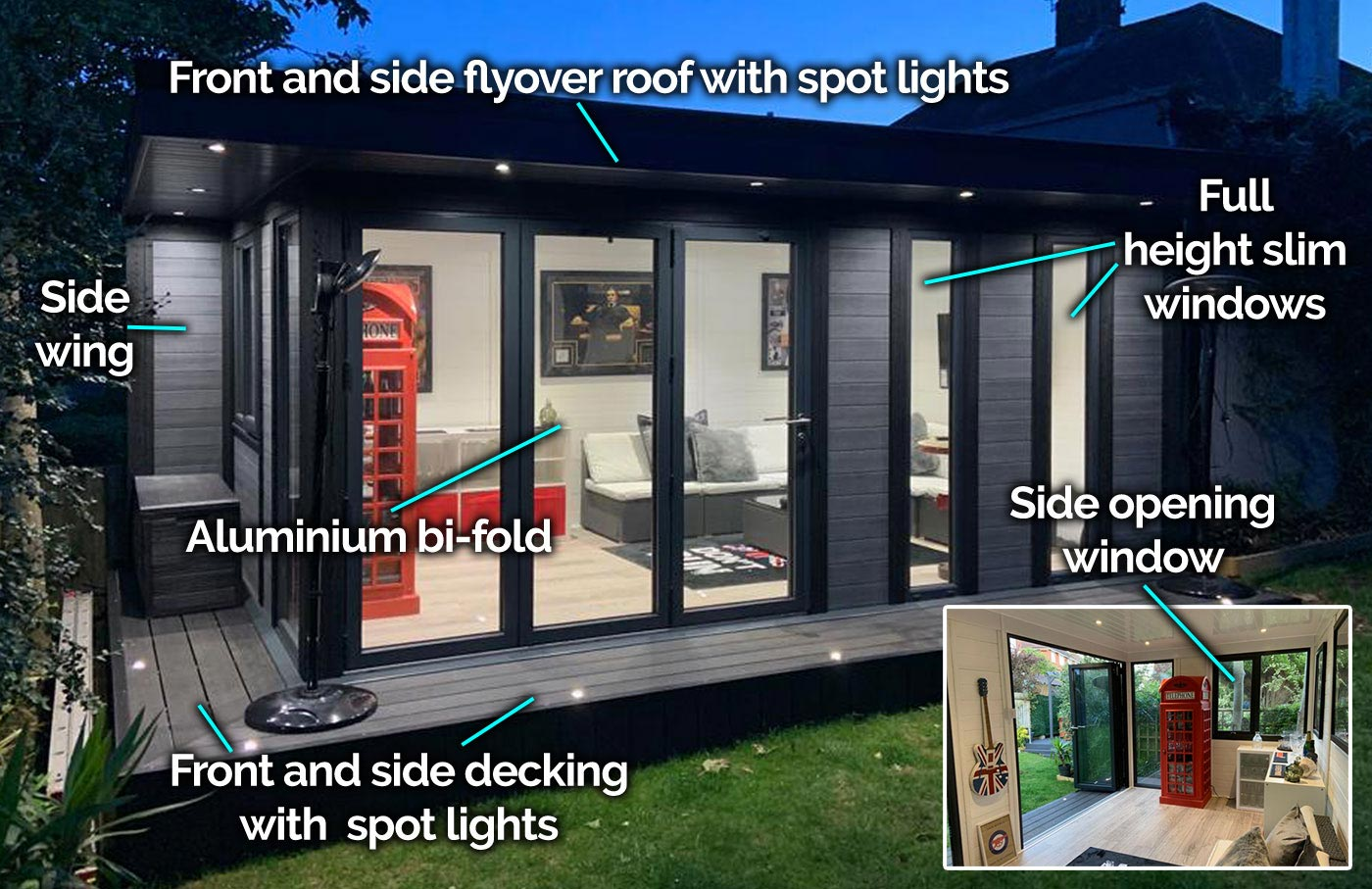 garden room with bi-fold door full height windows