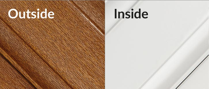 Golden Oak / White upvc window frame