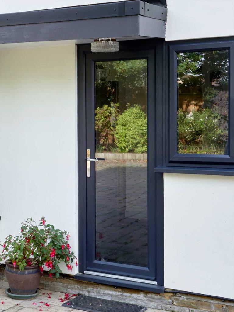 grey glass pvcu door edgware
