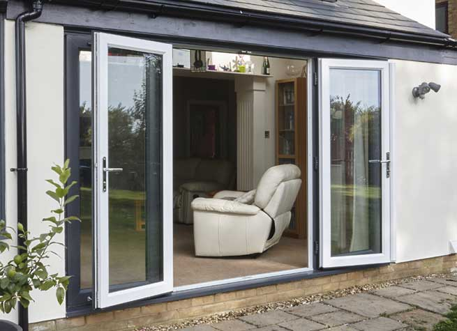grey white pvcu french doors
