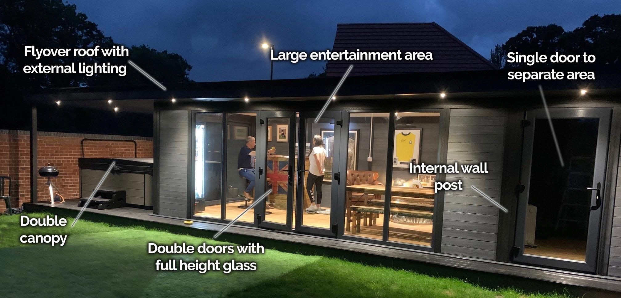 large garden room entertainment area with double canopy separate room