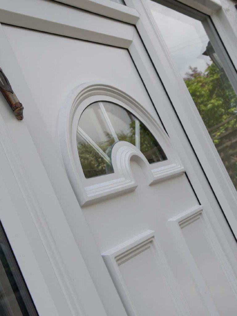 white pvcu door close up